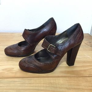 Stuart Weitzman Brown Leather Heels Sz 8.5